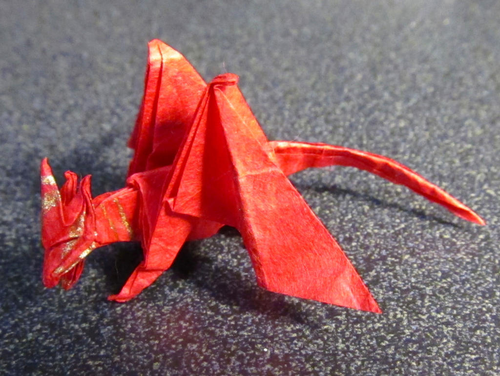 Tiny Red Origami Dragon by OrigamiPhoenix