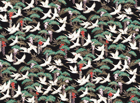 Chiyogami paper with cranes on black