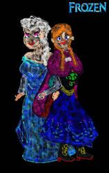 Frozen Sisters - Airbrush Speeddoodle - Fall 2014 by ESPIOARTWORK-102