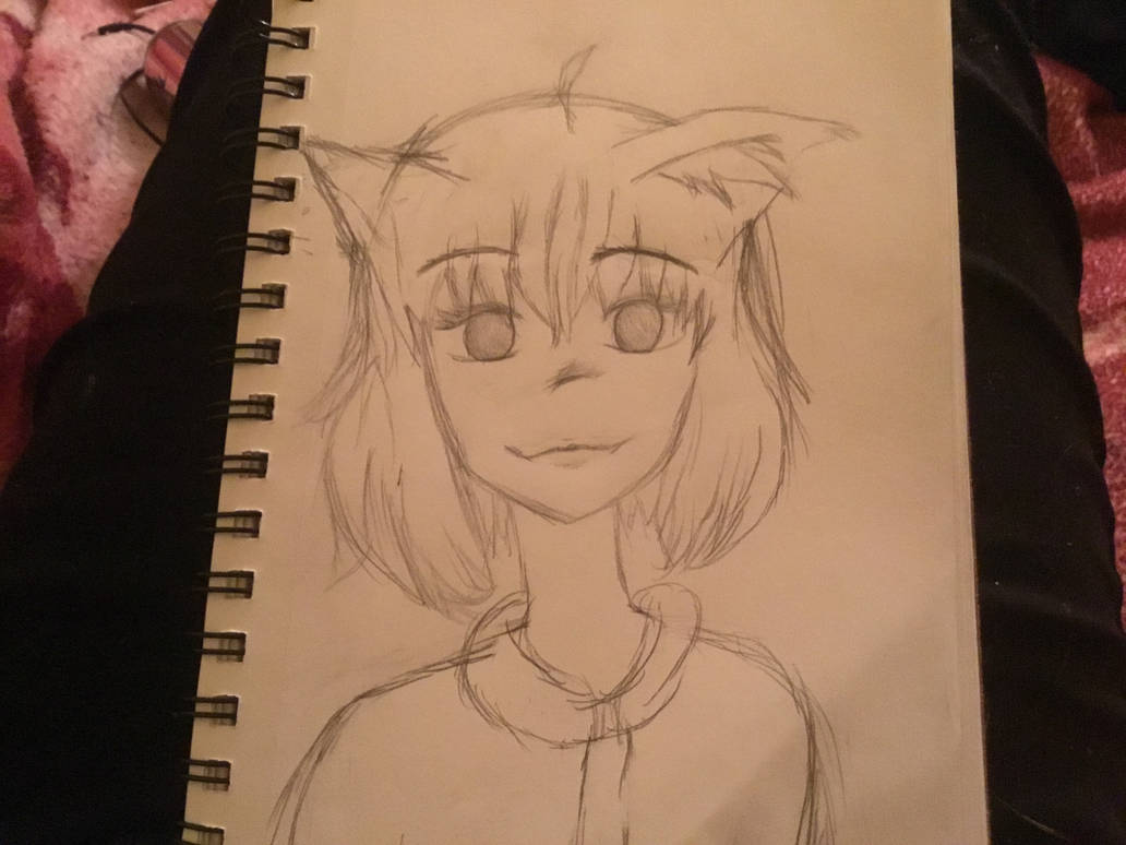 Another cat girl but with pencil by rosy fuzzbrain