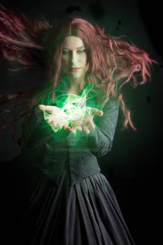 Green witch stock image