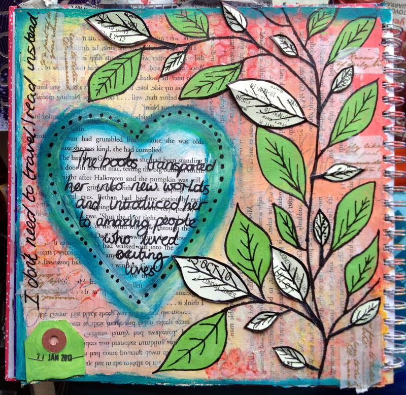 The Books Transported Her - Art Journal Page by ambrabealey