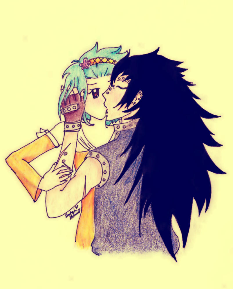 Gajeel and levy kiss by AliceCat33 on DeviantArt