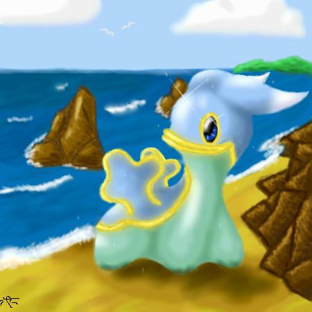 Shiny Shellos at the beach by Kiuna-chan