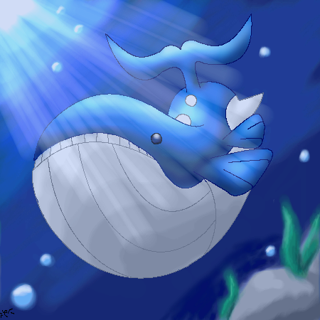 Wailord in the ocean by Kiuna-  Wailord Wallpaper
