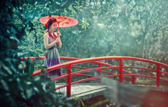 Woman with red umbrella.