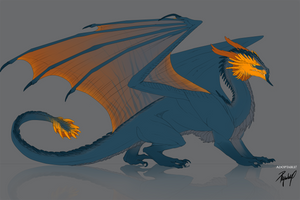DISCOUNT!!! Adoptable dragon Blue+Orange CLOSED by Ryuvhiel