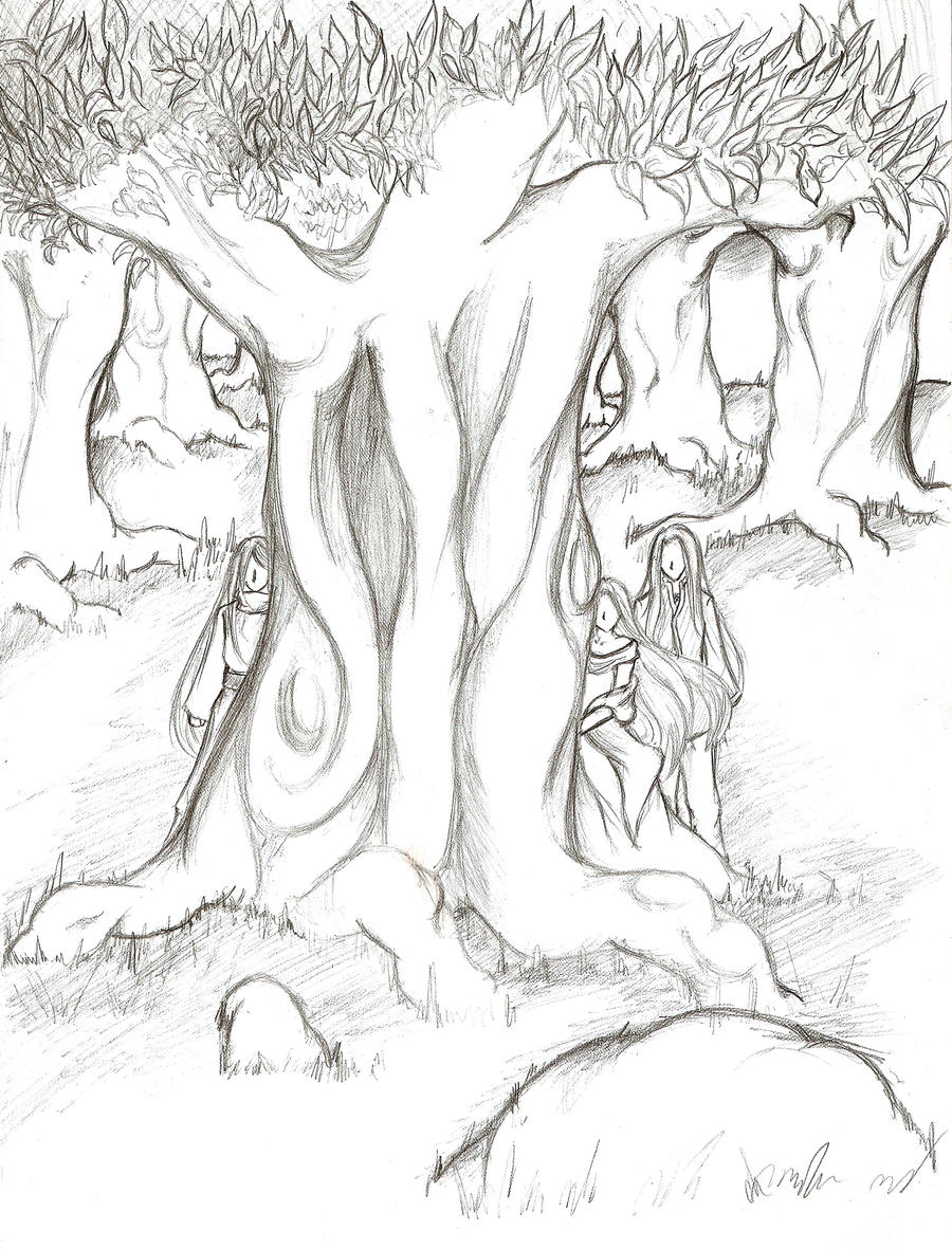 Line Art Forest : Elven forest by rankurogane on deviantart