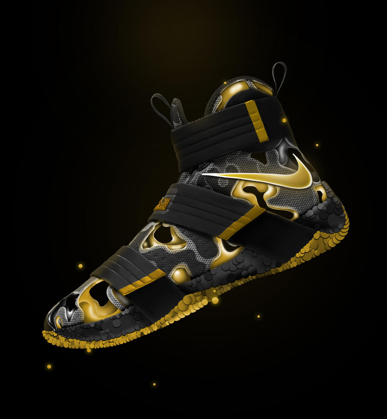cuenta enfocar norte  Nike Zoom Lebron Soldier 10 camo Black and Gold by paoloangoluan on  DeviantArt