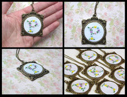 Hand Embroidered Floral Initial Necklace by The-Gwyllion