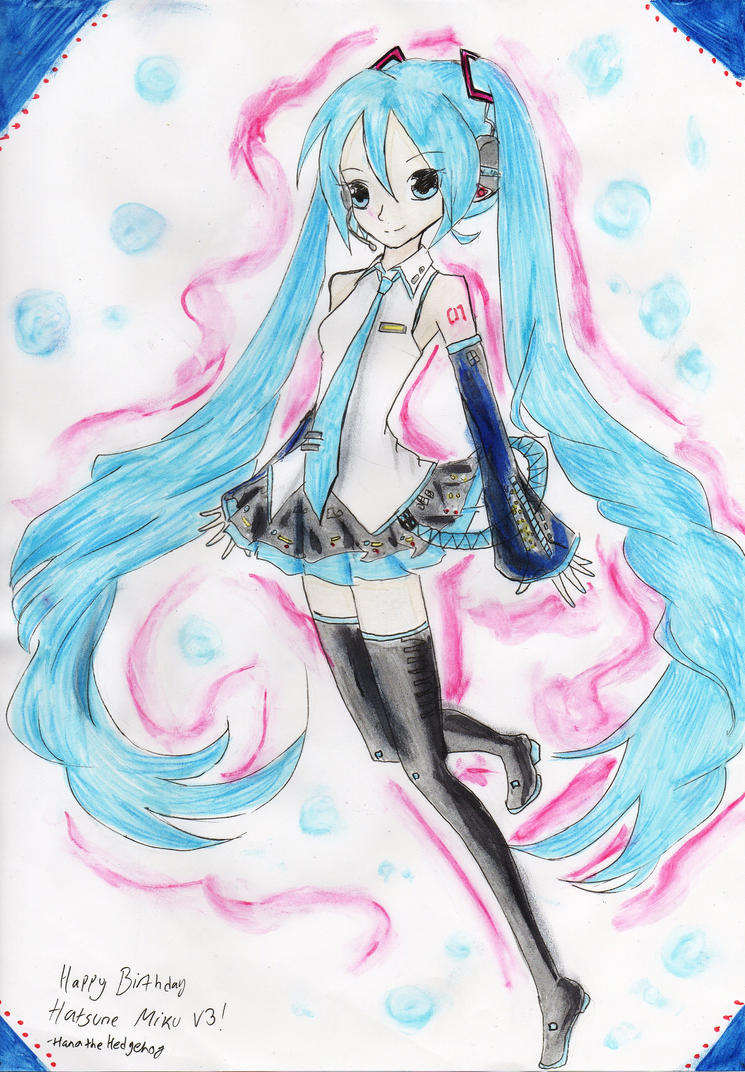 Hatsune Miku V3 1st Anniversary by HanatheHedgehog