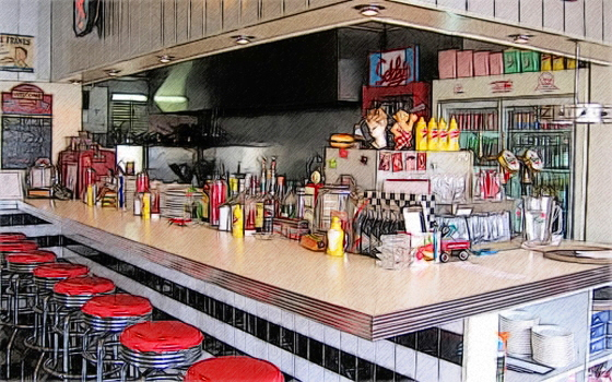 Classic 50s diner bar by t douglas painting on deviantart for Diner painting