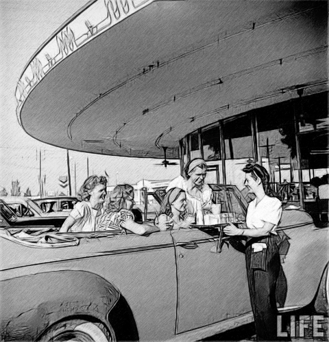 1950s 50s Black And White Classic Diner Favim By T Douglas
