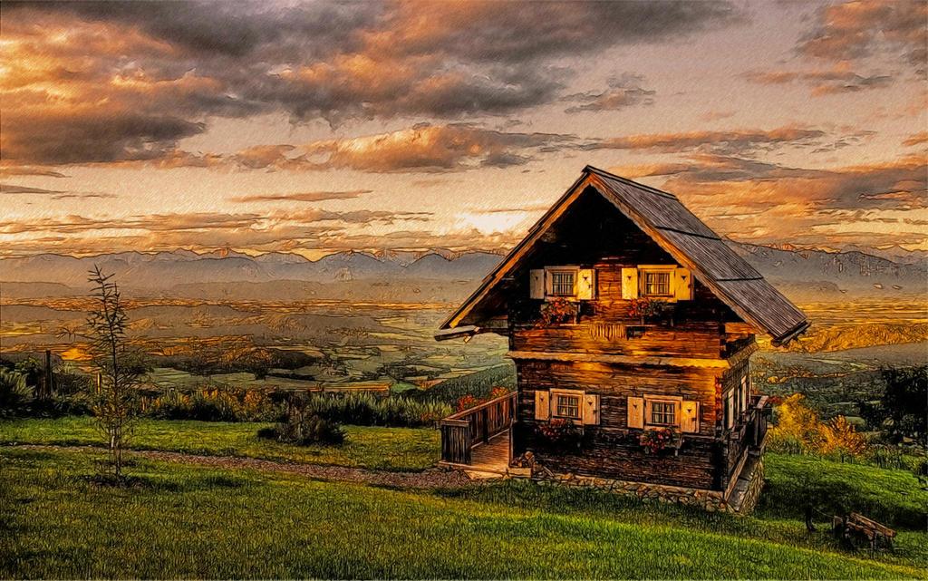 Wooden Cabin Landscape By T Douglas Painting On Deviantart
