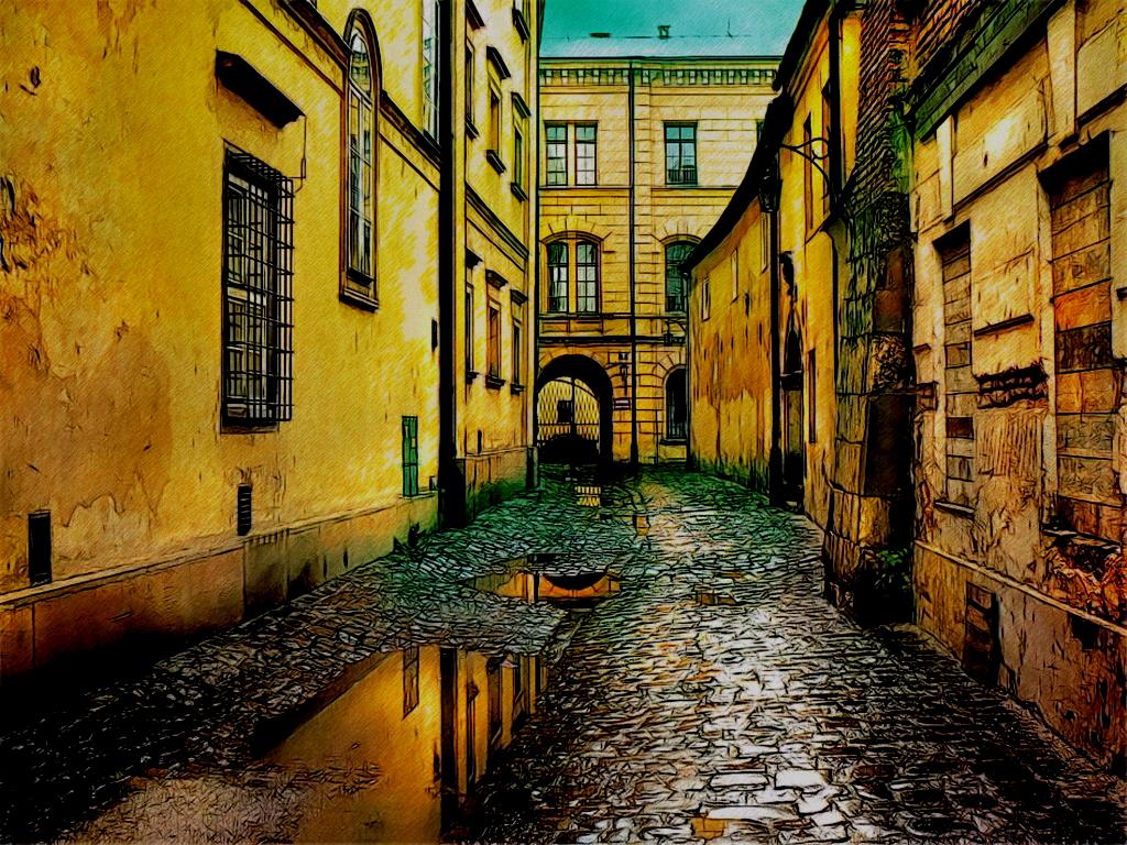 Rainy City Wallpaper Painting