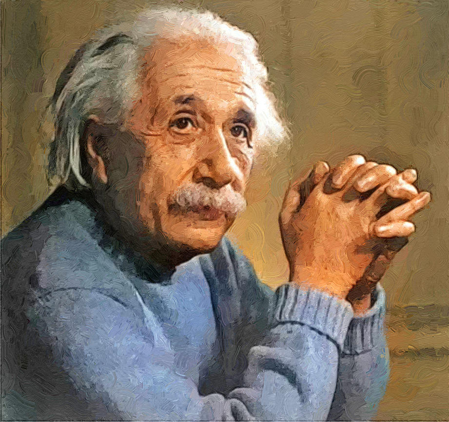 Albert-einstein-portrait-colorized2b By T-Douglas-Painting