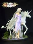 Lady Amalthea and Unicorn Diorama Scene