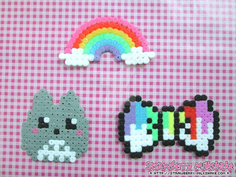 Kawaii Hama: Totoro, Rainbow, Paint Bow by FiyahKitteh