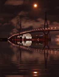 Hamburg Harbor Bridge at night by MichiLauke