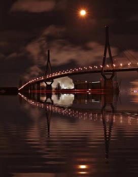 Hamburg Harbor Bridge at night