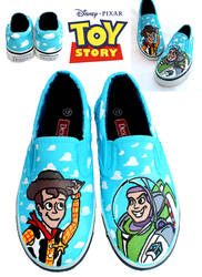 TOY STORY SHOES - Woody and Buzz by artsyfartsyness