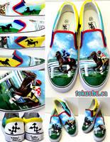 Race Horse Custom Shoes by artsyfartsyness