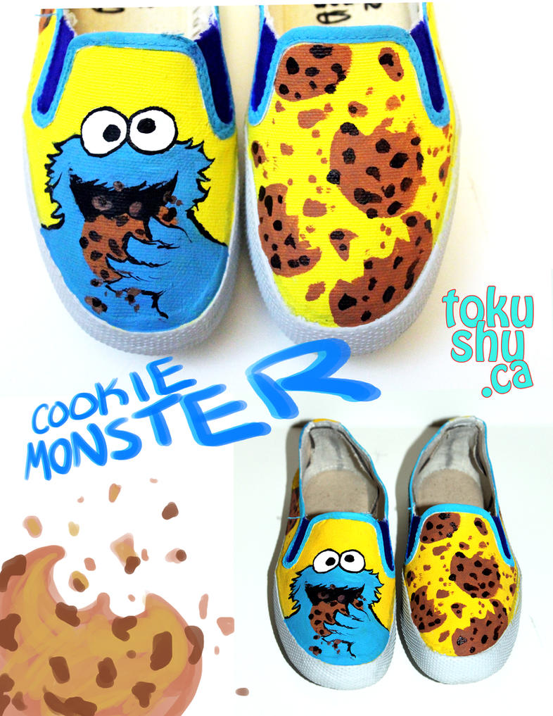 Cookie Monster Shoes by artsyfartsyness