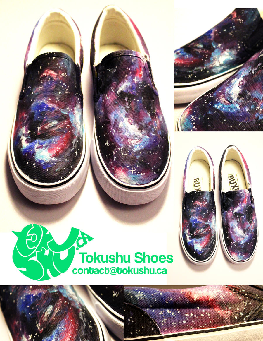 galaxy canvas shoes painted by artsyfartsyness on