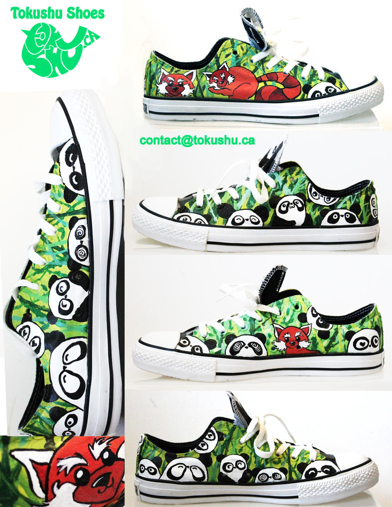 Red Panda and Panda Converse by artsyfartsyness
