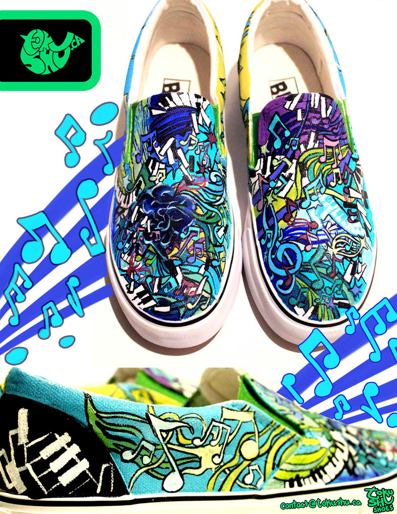 Music Doodle Shoes by artsyfartsyness