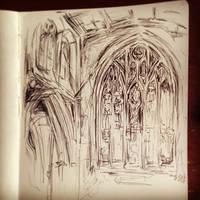 London Southwark Cathedral Sketch by artsyfartsyness