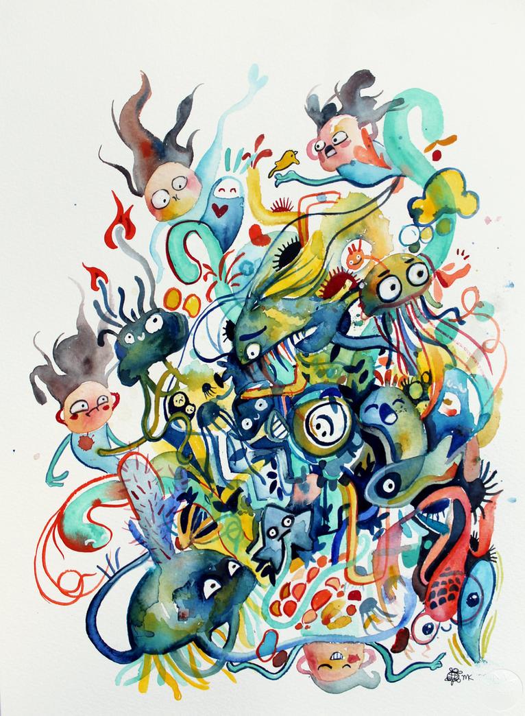 Ocean Doodle by artsyfartsyness