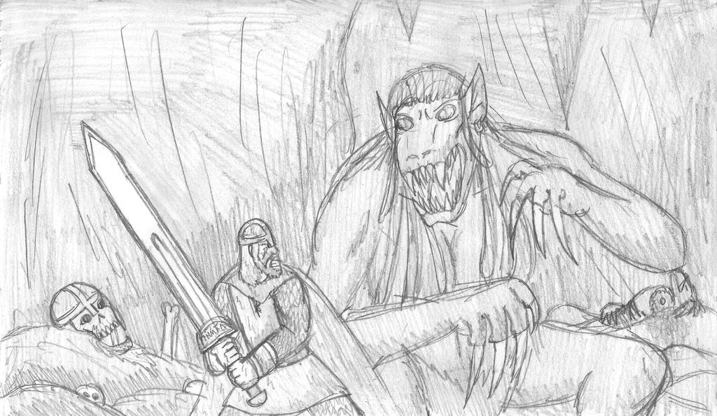 Beowulf and Grendel by Shmersh on DeviantArt |Beowulf Fighting Grendel Drawing