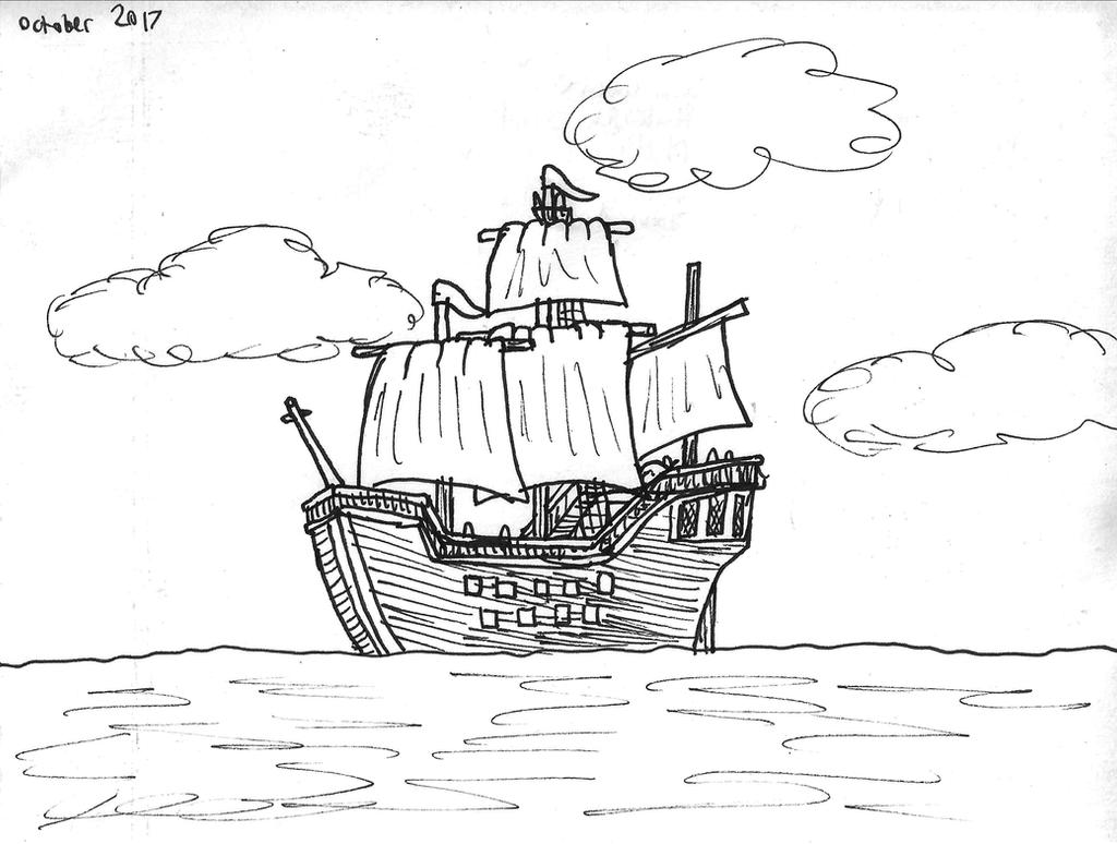 inktober_2017__day_25__ship_by_dwestmoor