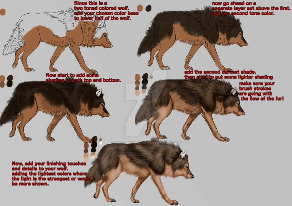 Wolf fur coloring tutorial by ValsparinDragon on DeviantArt