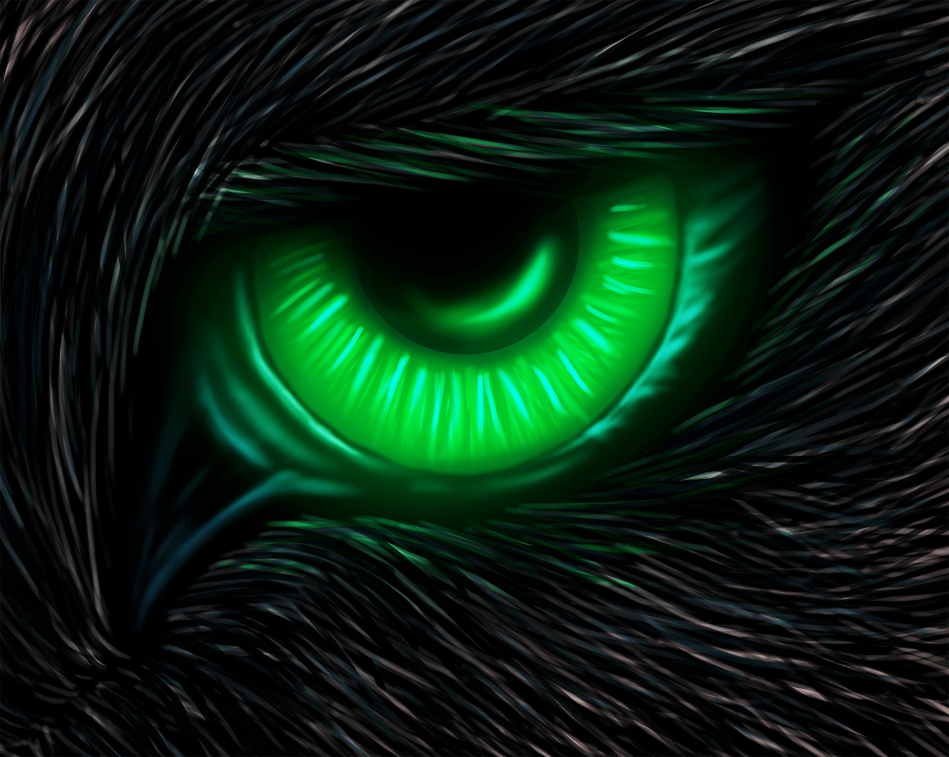 black wolf with green eyes - photo #32