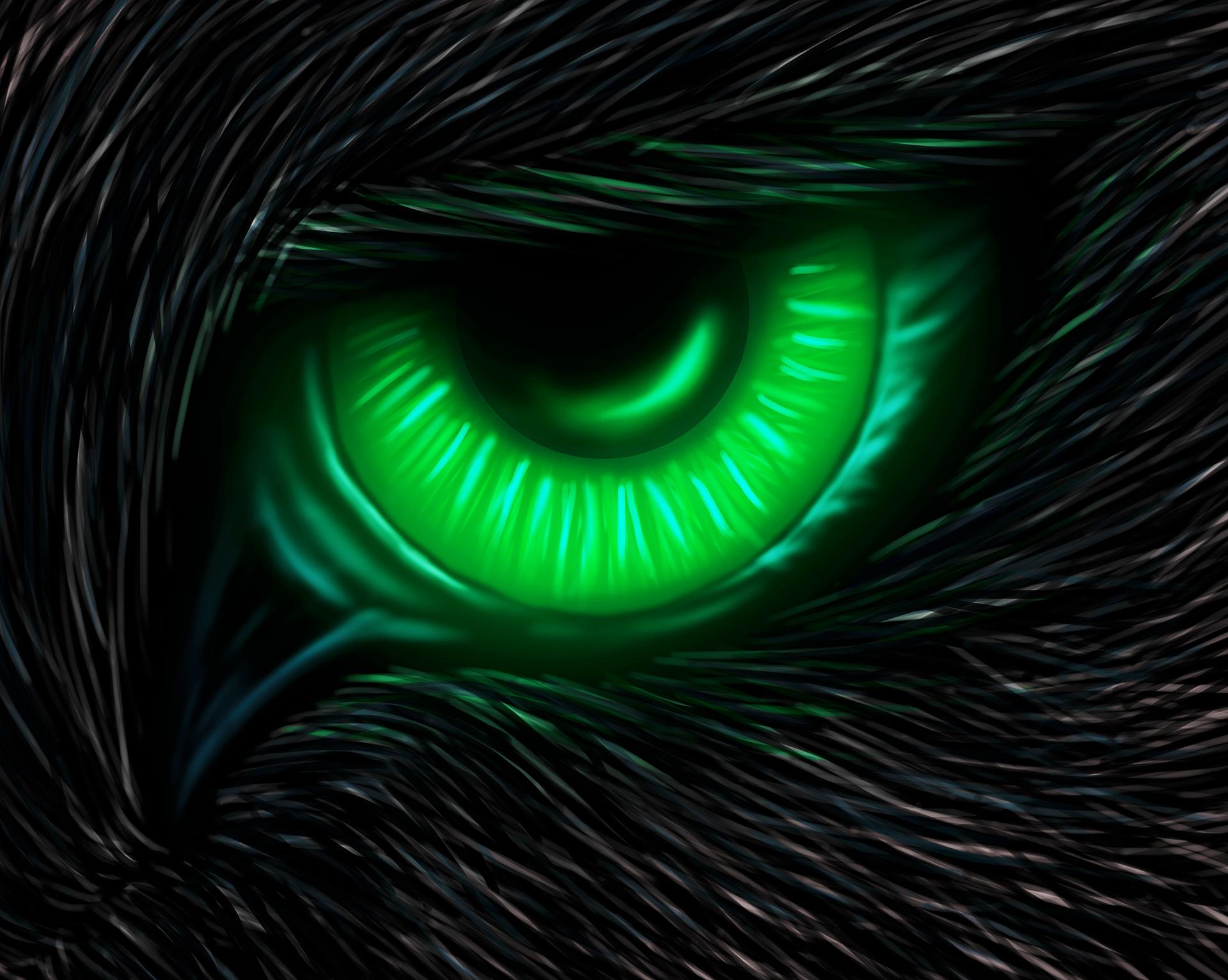 black wolf green eyes-#27
