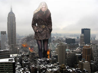 Elsa Hosk - downtown New York City in winter by Natkatsz