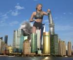 Elsa Hosk - Toppling skyscrapers in Shanghai