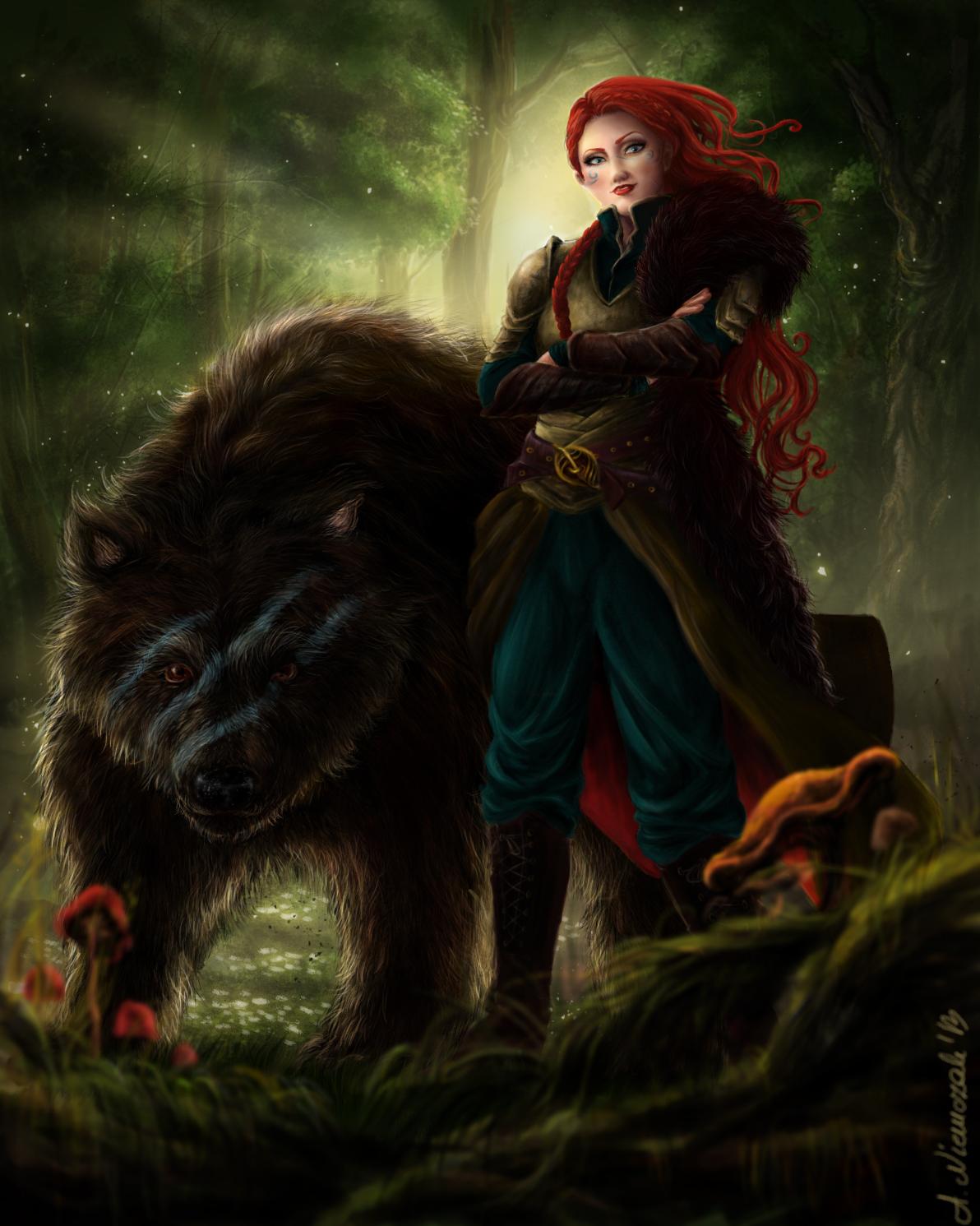 Redhead elven archer hentia scene