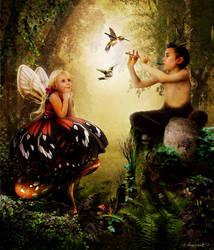 Satyr Boy and Little Fairy by sekiq