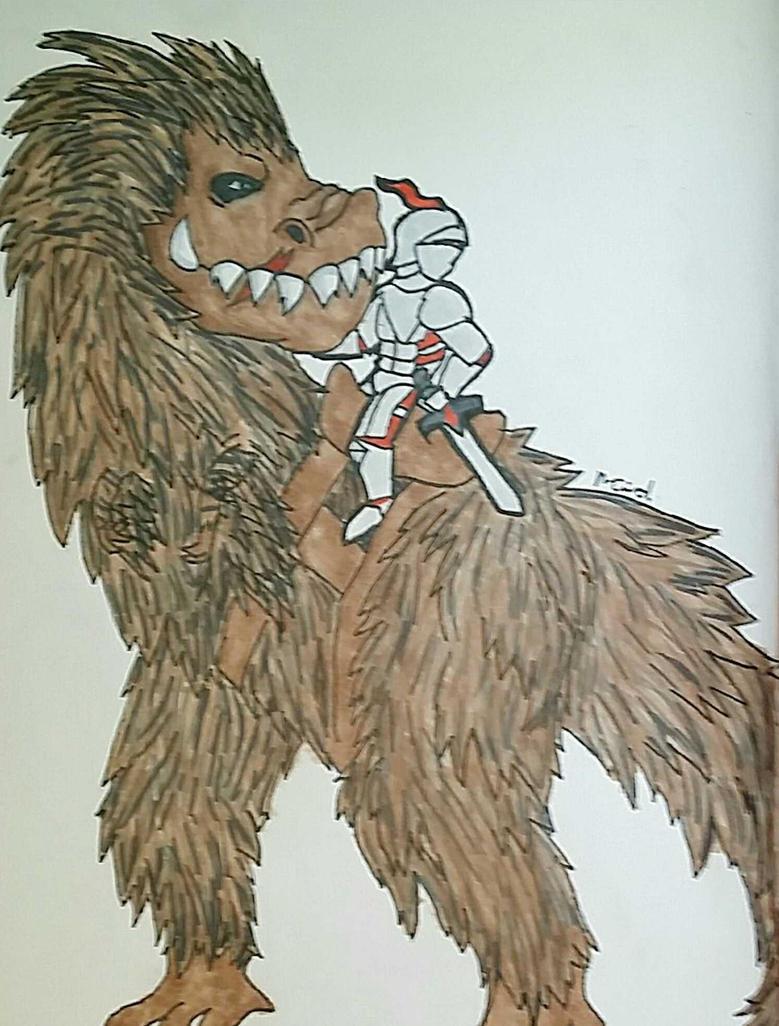Dinosaur and a Knight by Ncid