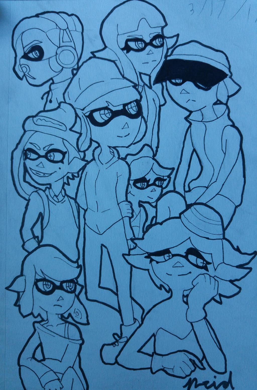 Squid kids WiP by Ncid