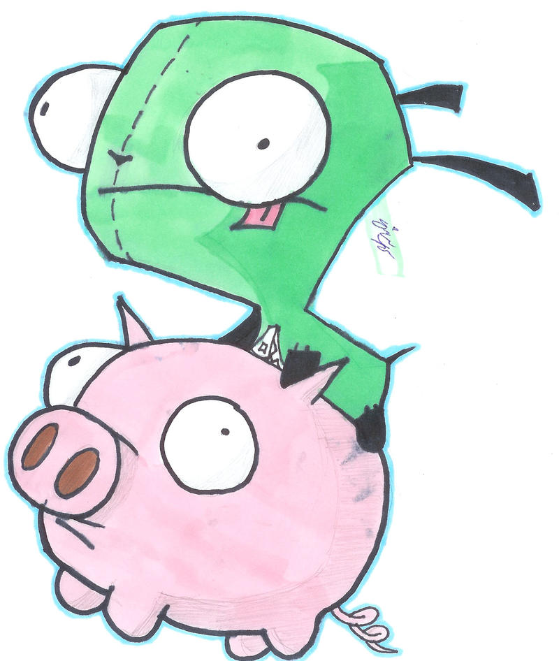 Gir and his Piggy by getrevenge1124