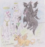 Devil and angel dogs by Kamixazia