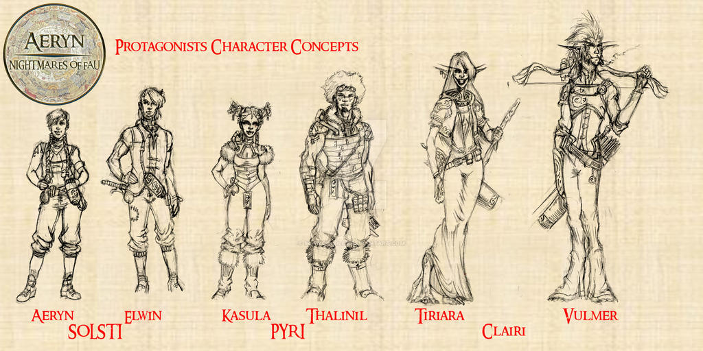 K- Nightmares-of-Fau Protagonist-Concepts by MarkCDudley
