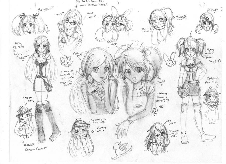 Kira and Kagami Sky Sketch by AsianBunnyZ7