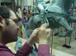 Diego working on a sculpture.