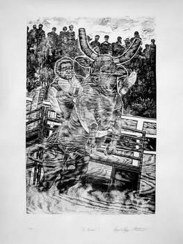 1.-El Chacuis. Xilografia. 80x60 cms. Diego Lop