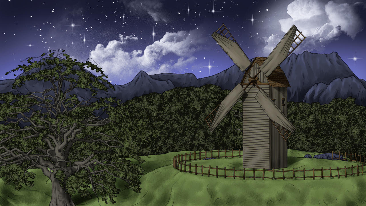 Windmill landscape at night